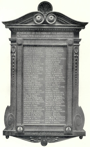 Members of The Institute of Actuaries War Memorial image
