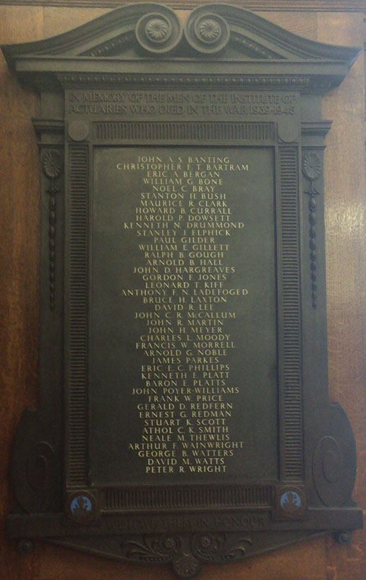 the Institute of Actuaries War Memorial plaque image